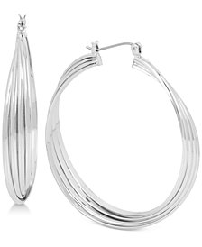 Kenneth Cole New York Silver-Tone Large Multi-Row Twisted Hoop Earrings