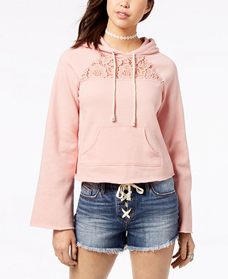 Juniors' Lace Trim Bell Sleeve Hoodie, Created For Macy's by American Rag