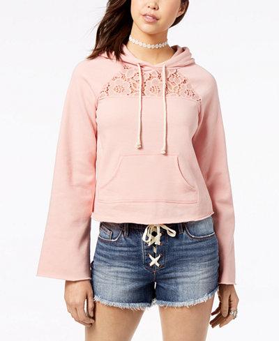 American Rag Juniors' Lace-Trim Bell-Sleeve Hoodie, Created for Macy's