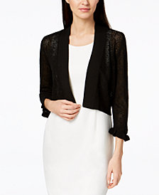 Calvin Klein Open-Knit Ruffled-Cuff Shrug