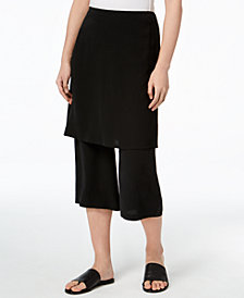 Eileen Fisher Silk Skort with Wide-Leg Cropped Pants