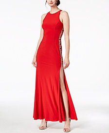 Xscape Beaded Cutout-Side Gown