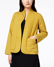 Eileen Fisher Tencel® Patch-Pocket Quilted Open Jacket, Regular & Petite