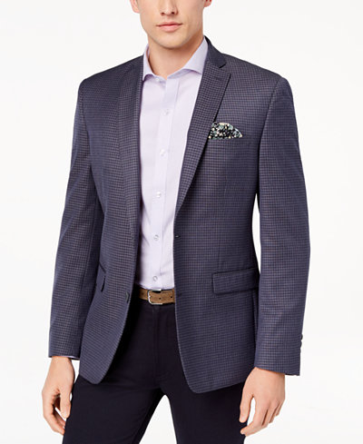 Bar III Men's Slim-Fit Blue Mini-Check Sport Coat, Created for Macy's