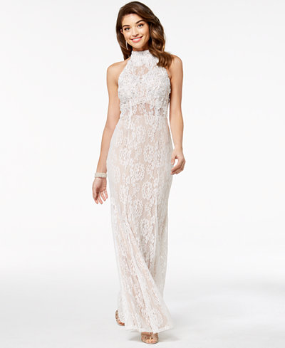 City Studios Juniors' Embellished Lace Illusion Gown, Created for Macy's