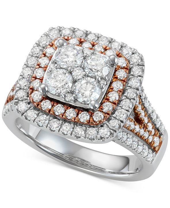 Centennial Diamond Two-Tone Halo Cluster Engagement Ring (2 ct. t.w.) in 14k White & Rose Gold
