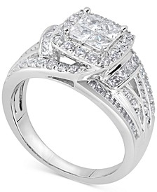 Diamond Princess Overlap Engagement Ring (1-1/2 ct. t.w.) in 14k White Gold