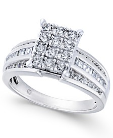 Diamond Rectangle Cluster Ring (1 ct. t.w.) in 14k White Gold