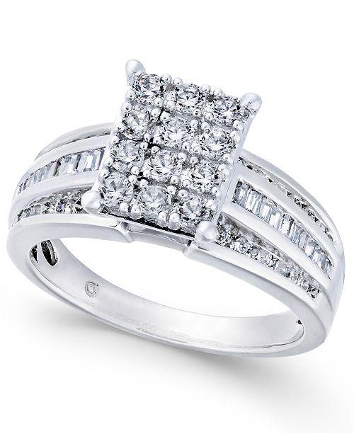 Macy's Diamond Rectangle Cluster Ring (1 ct. t.w.) in 14k White Gold