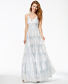 Say Yes to the Prom Juniors' Embroidered-Lace Gown, Created for Macy's