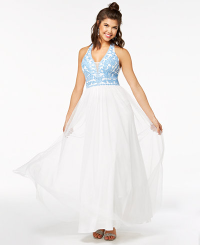 Blondie Nites Juniors' Embroidered Ball Gown