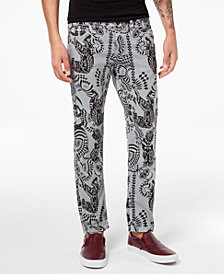 Versace Men's Classic-Fit Stretch Tiger-Print Jeans
