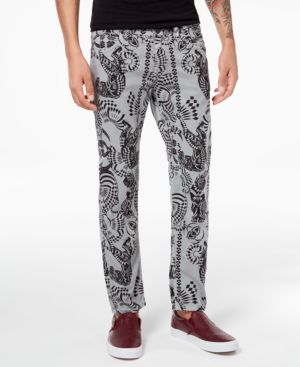 Versace Men's Classic-Fit Stretch Tiger-Print Jeans 5643542