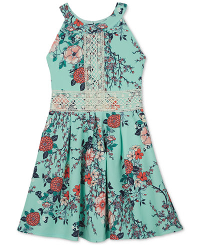 BCX Floral-Print Skater Dress, Big Girls