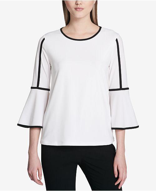 0a735ceb28e57e Calvin Klein Contrast-Trim Bell-Sleeve Blouse   Reviews - Tops ...