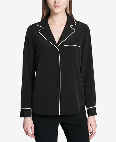 Calvin Klein Button-Down Pajama Top