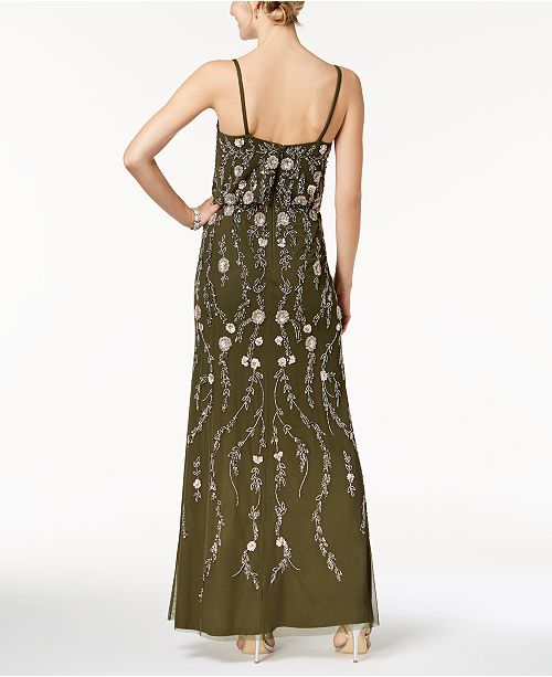 Adrianna Papell Petite Floral Beaded Blouson Gown - Dresses - Women ...