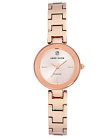 Anne Klein Women's Diamond-Accent Rose Gold-Tone Bracelet Watch 24mm