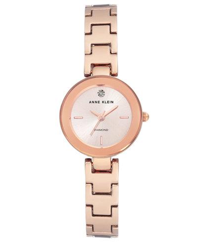Anne Klein Women's Diamond-Accent Rose Gold-Tone Bracelet Watch 24mm