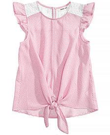 Monteau Tie-Front Lace-Trim Top, Big Girls