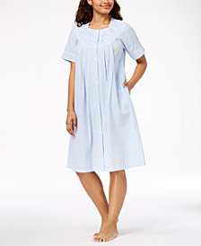 Miss Elaine Petite Embroidered Gingham Robe