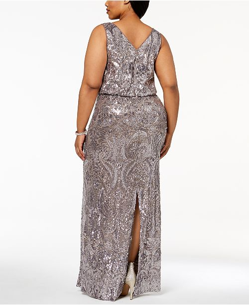 Betsy Adam Plus Size Sequined Blouson Gown Dresses Women Macys