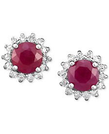 Certified Ruby (1-1/4 ct. t.w.) & Diamond (1/5 ct. t.w.) Flower Stud Earrings in 14k White Gold