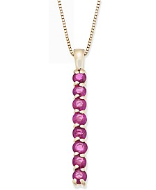 """Ruby Vertical Bar 18"""" Pendant Necklace (3/4 ct. t.w.) in 14k Gold"""