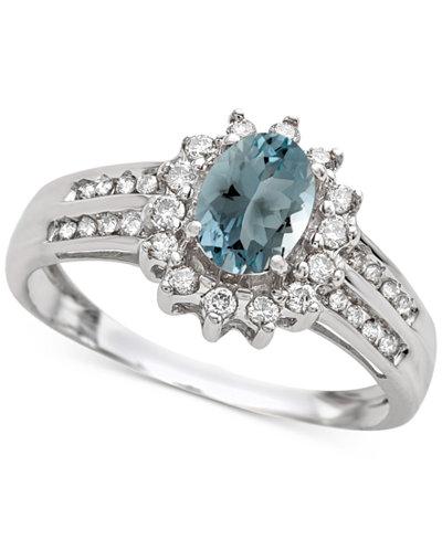 Aquamarine (3/4 ct. t.w.) & Diamond (1/3 ct. t.w.) Ring in 14k White Gold