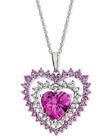 "Lab-Created Pink Sapphire (2-3/4 ct. t.w.) & White Sapphire (1/2 ct. t.w.) Heart 18"" Pendant Necklace in Sterling Silver"