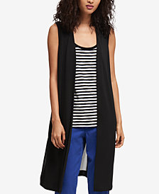 DKNY Sheer-Back Long Vest, Created for Macy's