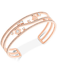 Michael Kors Rose Gold-Tone Crystal Heart & Flower Open Cuff Bracelet