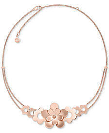 Michael Kors Rose Gold-Tone Flower Statement Necklace