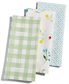 Martha Stewart Collection 3-Pc. Flower Patch Cotton Kitchen Towel Set, Created for Macy's