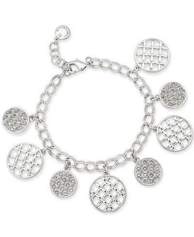 Charter Club Silver-Tone Crystal Shaky Bracelet, 17