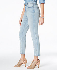 Style & Co Embellished Pearl Skinny Jeans, Created for Macy's