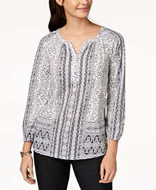 Style & Co Split-Neck Blouson Top, Created for Macy's