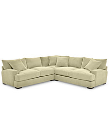 """Rhyder 3-Pc. Fabric """"L"""" Shaped Sectional - Custom Colors, Created for Macy's"""