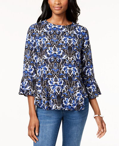Charter Club Printed Peplum Top, Created for Macy's
