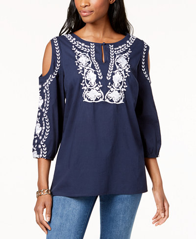 Charter Club Cotton Embroidered Cold-Shoulder Peasant Top, Created for Macy's