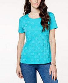 Karen Scott Embossed-Print T-Shirt, Created for Macy's