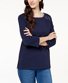 Karen Scott Lace-Up T-Shirt, Created for Macy's