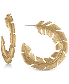 RACHEL Rachel Roy Gold-Tone Feather Hoop Earrings