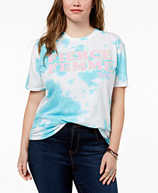 Barbie X Love Tribe Plus Size Fierce Femme Tie-Dyed T-Shirt, Created for Macy's