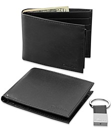Leather Bookfold Wallet and Key Fob Set