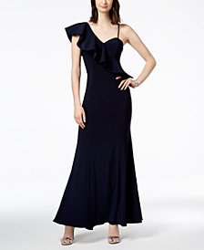 Xscape Asymmetrical Ruffle Gown