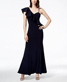 Xscape Asymmetrical Ruffle Gown
