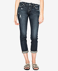 Silver Jeans Co. Juniors' Sam Cuffed Boyfriend Jeans