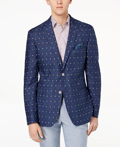 Tallia Orange Men's Modern-Fit Indigo Dot Sport Coat