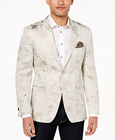Tallia Orange Men's Modern-Fit Gold Leaf-Print Dinner Jacket